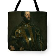 Portrait Of Alfonso D'avalon -  Marquis Of Vasto - In Armor With A Page Tote Bag