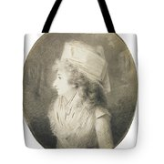 Portrait Of An Elegant Lady In Profile, Wearing A Hat Tote Bag