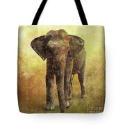 Portrait Of An Elephant Digital Painting With Detailed Texture Tote Bag