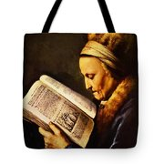 Portrait Of An Old Woman Reading Tote Bag