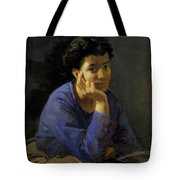 Portrait Of An Unknown Woman In A Blue Blouse Tote Bag