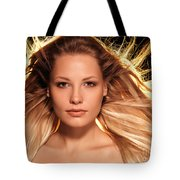 Portrait Of Beautiful Woman Face With Glowing Golden Blond Hair Tote Bag