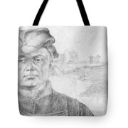 Portrait Of Caspar Tower And A River Landscape 1520 Tote Bag