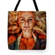 Portrait Of Female With Hair Billowing Everywhere In Radiant Unsmiling Sharp Features Golden Warm Colors And Upturned Nose Curls And Aliens Of The Departure Tote Bag