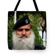 Portrait Of Pakistani Security Guard With Flowing White Beard Karachi Pakistan Tote Bag
