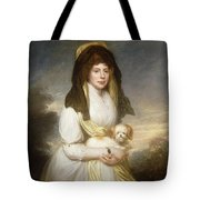 Portrait Of Queen Charlotte Three-quarter Length In A White Dress A Yellow Shawl And Black Mantilla Holding A Maltese Dog Sir Henry William Beechey Tote Bag