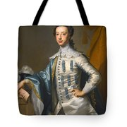 Portrait Of Sir James Lowther 1st Earl Of Lonsdale Three Quarter Length Holding A Mask In His Right  Tote Bag