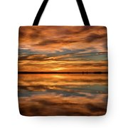 Portrait Of Sunrise Reflections On The Great Plains Tote Bag