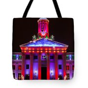 Portrait Of The Denver City And County Building During The Holidays Tote Bag