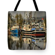 Portrait Of The Ucluelet Trawlers Tote Bag