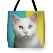 Portrait Of White Cat On Blue And Yellow Background Tote Bag