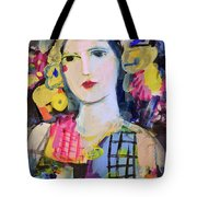 Portrait Of Woman With Flowers Tote Bag
