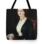Portrait Of Woman With Peony Tote Bag