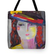 Portrait Of Woman With Vintage Hat Tote Bag