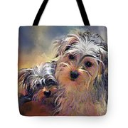 Portrait Of Yorkshire Terrier Puppy Dogs Tote Bag