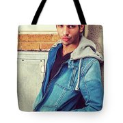 Portrait Of Young Man In New York Tote Bag