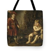 Portraits Of Two Boys In A Landscape One Dressed As A Hunter The Other St As John The Baptist Tote Bag
