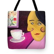Portrat With Cup And Flowers Tote Bag