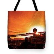 Sunset Under The 25 April Bridge Lisbon Tote Bag
