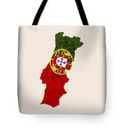 Portugal Map Art With Flag Design Tote Bag