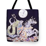 Poseidon Rides The Sea On A Moonlight Night Tote Bag by Carol  Law Conklin
