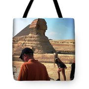 Posing With Sphinx Tote Bag