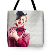 Possessed Girl With Bloody Toothbrush. Gum Disease Tote Bag
