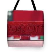 Post Office Arrowed Direction Red Sign On Top Of Post Box Tote Bag