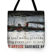 Post Office Savings Bank - Steamliner - Retro Travel Poster - Vintage Poster Tote Bag