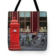 Postbox And Bicycles In Front Of The Diamond Museum In Bruges Tote Bag