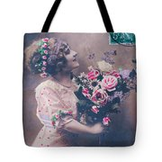Postcard Girl With A Bouquet Tote Bag