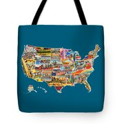 Postcards Of The United States Vintage Usa All 50 States Map Tote Bag