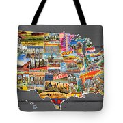 Postcards Of The United States Vintage Usa Map On Gray Wood Background Tote Bag