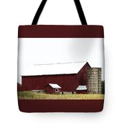 Poster Look American Red Barn With Silos I Niles Michigan Usa Tote Bag