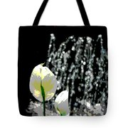 Posterized Fountain And Flower Tote Bag
