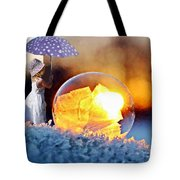 Girl With Umbrella Tote Bag