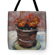 Pot Of Bee Dance Flowers Tote Bag