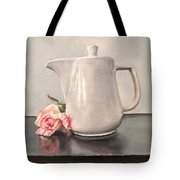 Pot Of Coffee And A Paper Rose Tote Bag