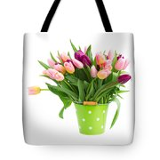 Pot Of Pink And Violet Tulips Tote Bag