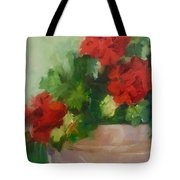 Potted Red Geraniums Tote Bag
