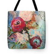 Powder Blue Roses Tote Bag