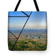 Power Lines Los Angeles Skyline Tote Bag