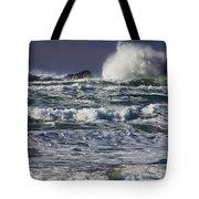 Powerful Waves Crash Ashore Tote Bag