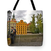 Prague Accordian Player On Charles Bridge Tote Bag