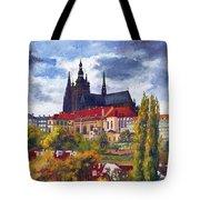 Prague Castle With The Vltava River Tote Bag by Yuriy  Shevchuk