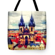 Prague Church Of Our Lady Before Tyn Watercolor Tote Bag