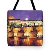 Prague Night Panorama Charles Bridge  Tote Bag by Yuriy  Shevchuk