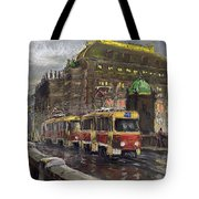 Prague Tram Legii Bridge National Theatre Tote Bag