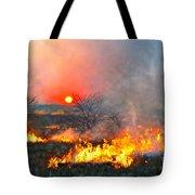 Prairie Burn Sunset In Kansas Tote Bag
