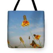 Prairie Cone Flowers Against Blue Sky Horizontal Number Three Tote Bag